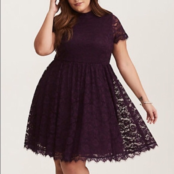 de7a1d291af New purple torrid lace skater dress 16. 18